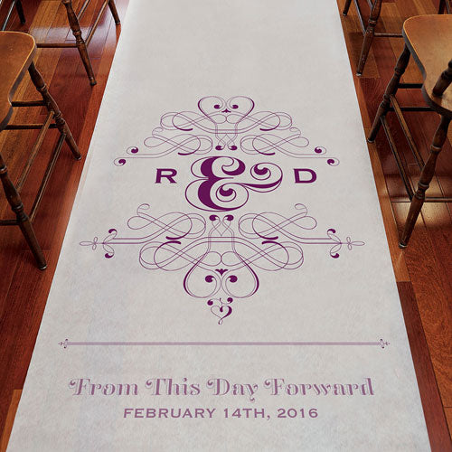 Fanciful Monogram Personalized Aisle Runner White With Hearts Powder Blue (Pack of 1)