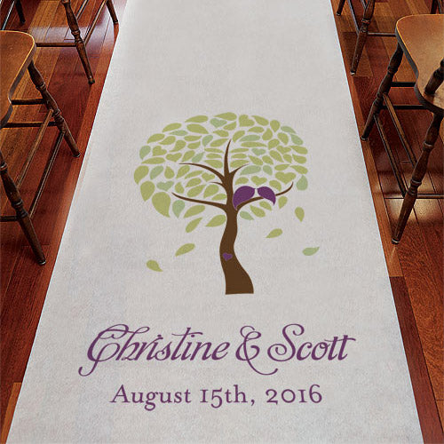 Love Bird Tree Personalized Aisle Runner White With Hearts Plum (Pack of 1)