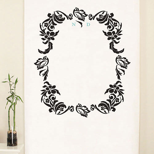 Love Bird Damask Monogram Personalized Photo Backdrop Berry (Pack of 1)