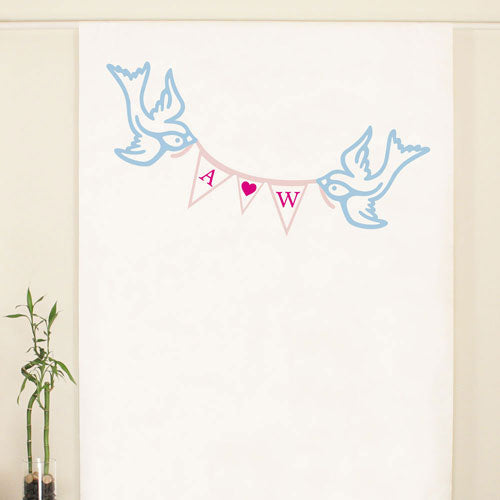 Birds with Love Pennant Personalized Photo Backdrop (Pack of 1)