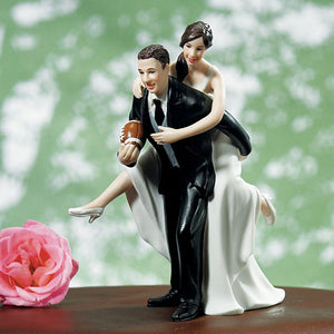 Football Piggy Back Bride and Groom Cake Topper Dark Skin Tone (Pack of 1)