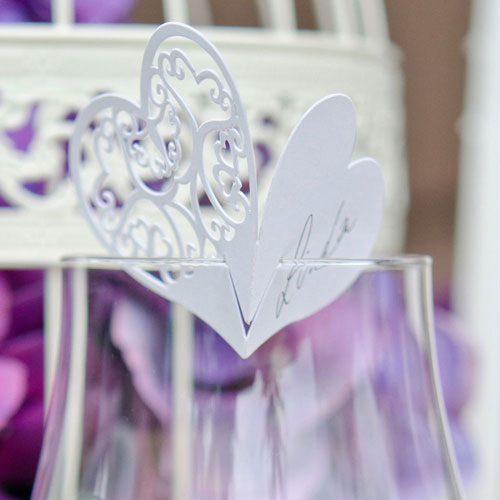 Place Card Double Heart Laser Expression (12) White (Pack of 12)