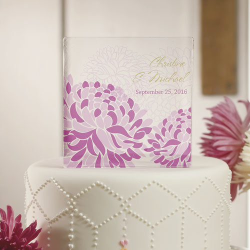 Zinnia Bloom Personalized Acrylic Block Cake Topper Plum (Pack of 1)