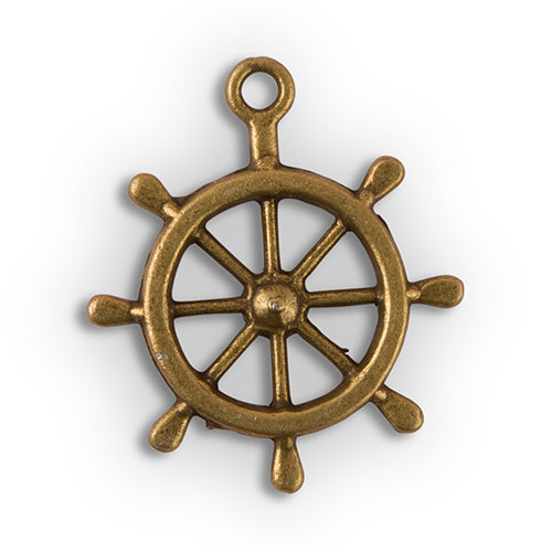 Boat Wheel Charm (12) (Pack of 12)
