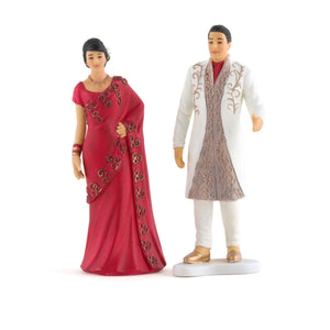 Traditional Indian Bride and Groom Figurine Cake Toppers Indian Bride in Red Sari (Pack of 1)