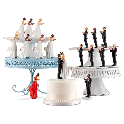 Interchangeable True Romance Bride And Groom Cake Toppers Medium Skin Tone Bald Groom (Pack of 1)