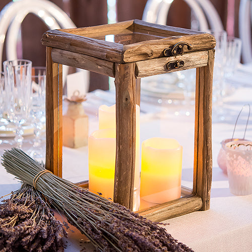 Rustic Wood and Glass Box with Hinged Lid (Pack of 1)