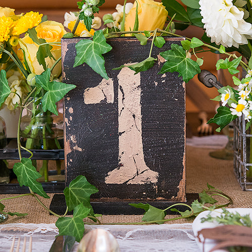 Rustic Self-Standing Table Number And Holders Numbers 1-6 (Pack of 6)