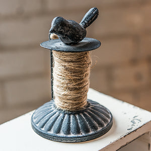 Decorative Bird Metal Spool with Jute Twine (Pack of 1)