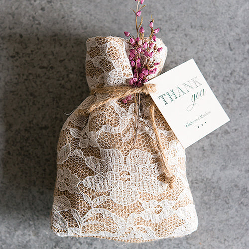 Rustic Chic Burlap and Lace Drawstring Favor Bag (12) (Pack of 12)