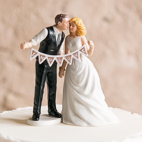 Shabby Chic Bride and Groom Porcelain Figurine Wedding Cake Topper with Pennant Sign Groom (Pack of 1)