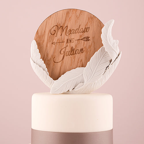 White Feather Porcelain Wedding Cake Topper (Pack of 1)