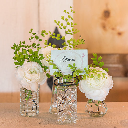 Vintage Inspired Pressed Glass Vases with Stationery Holders (Pack of 1)