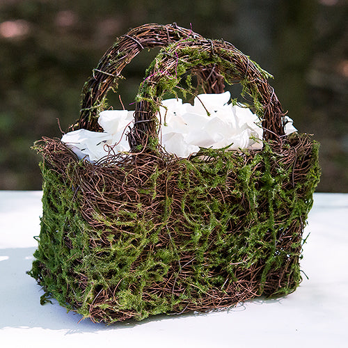 Faux Moss and Wicker Basket with Handles and Liner (Pack of 1)