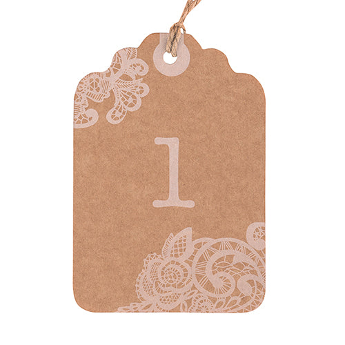 Large Kraft Tag with Vintage Lace White Print Numbers Numbers 1-12 (Pack of 12)