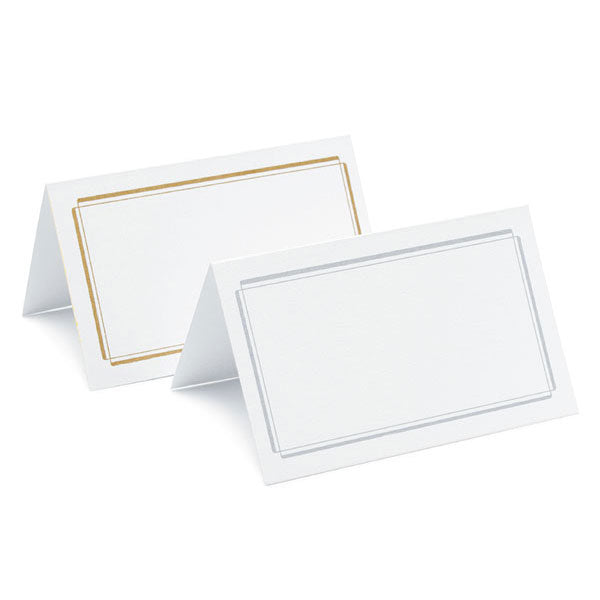Plain & Double Border Place Cards Package of 50 Double Border Silver (Pack of 50)