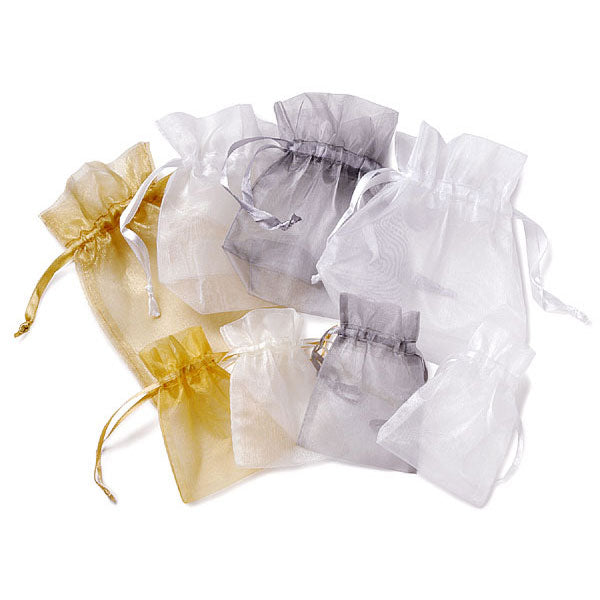 Organza Fabric Drawstring Bag -Large Silver (Pack of 1)