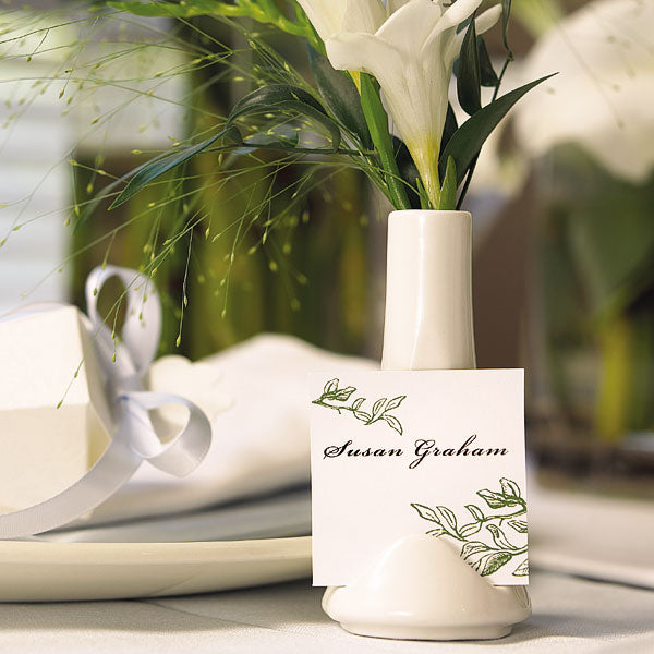 Small White Favor Vase or Place Card Holder (6) (Pack of 1)