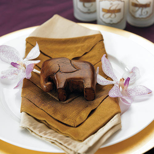 Miniature Wooden Elephants Asian Wedding Favor (4) (Pack of 1)