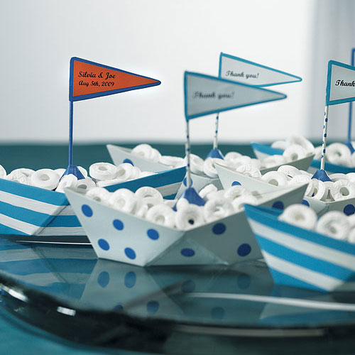 Blue and White Polka Dot and Striped Boat Favors (6) (Pack of 1)