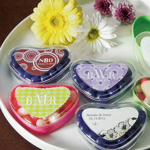 Clear Heart Shaped Favor Box Sweet Candy Container Crystal & Sour Apple Green (Pack of 1)