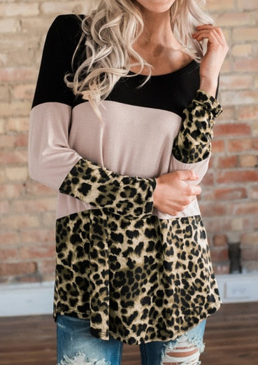 Women's Leopard Printed Top Full Long Sleeve Shirt Back Button