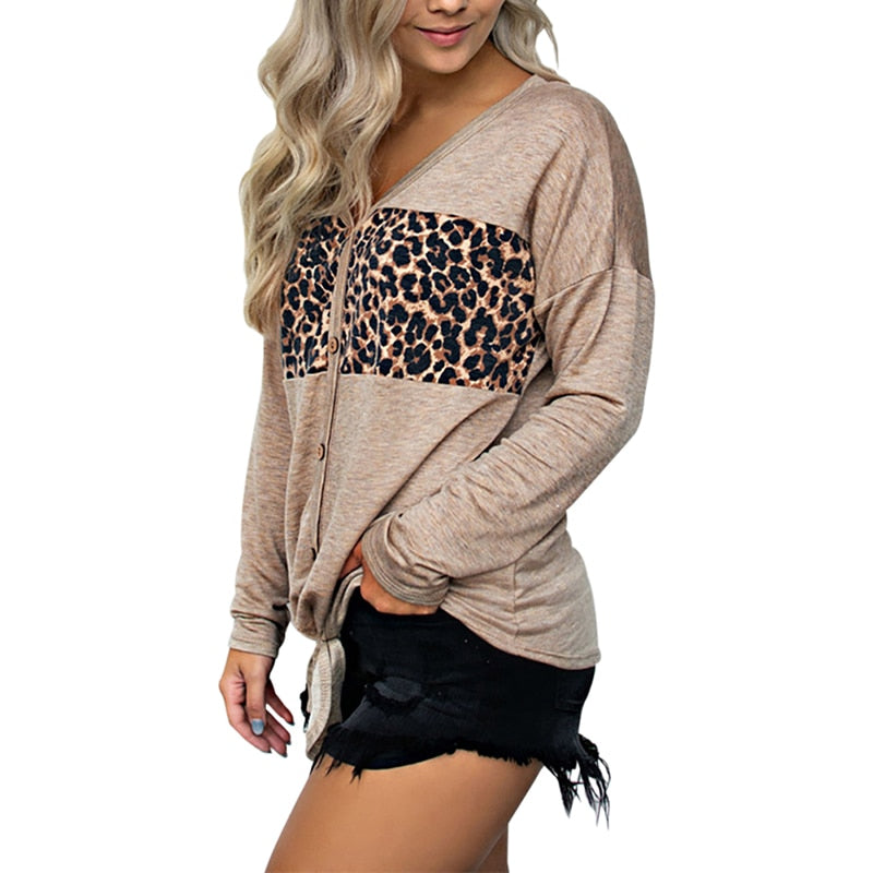 Women's Fashion Leopard Top Long Sleeve Stitching Loose Casual Ladies V Neck Leopard Patchwork Shirt