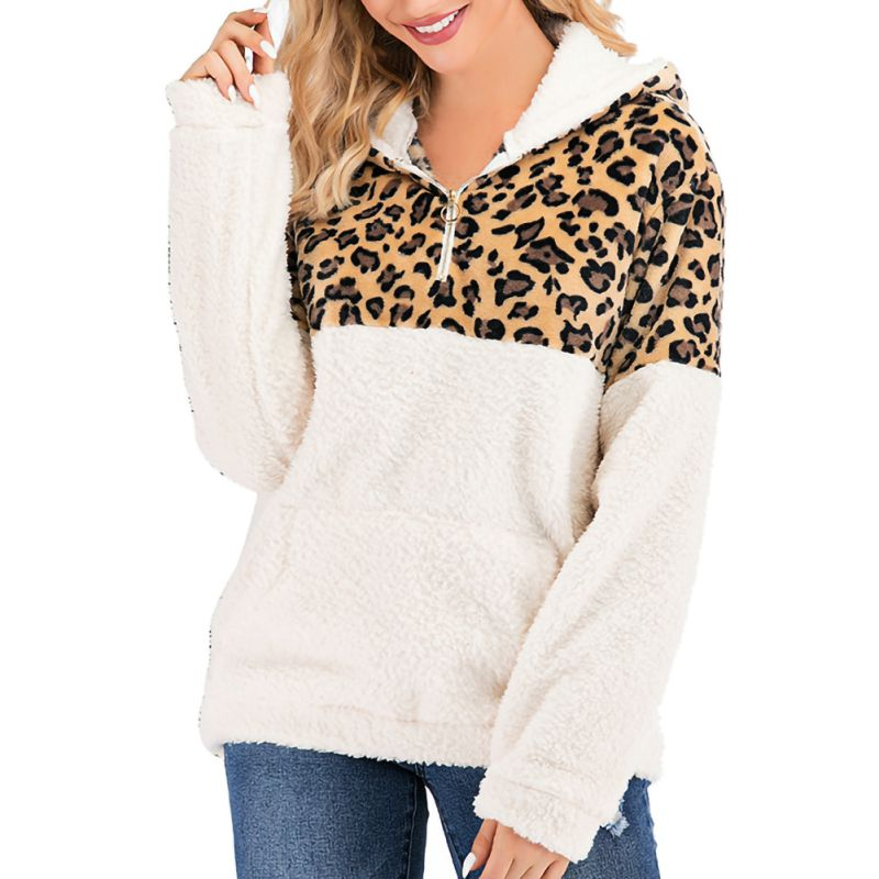 Women's Leopard Print Sweatshirt Casual Style Hoodies Pullovers Full Sleeve Length Turtleneck Collar