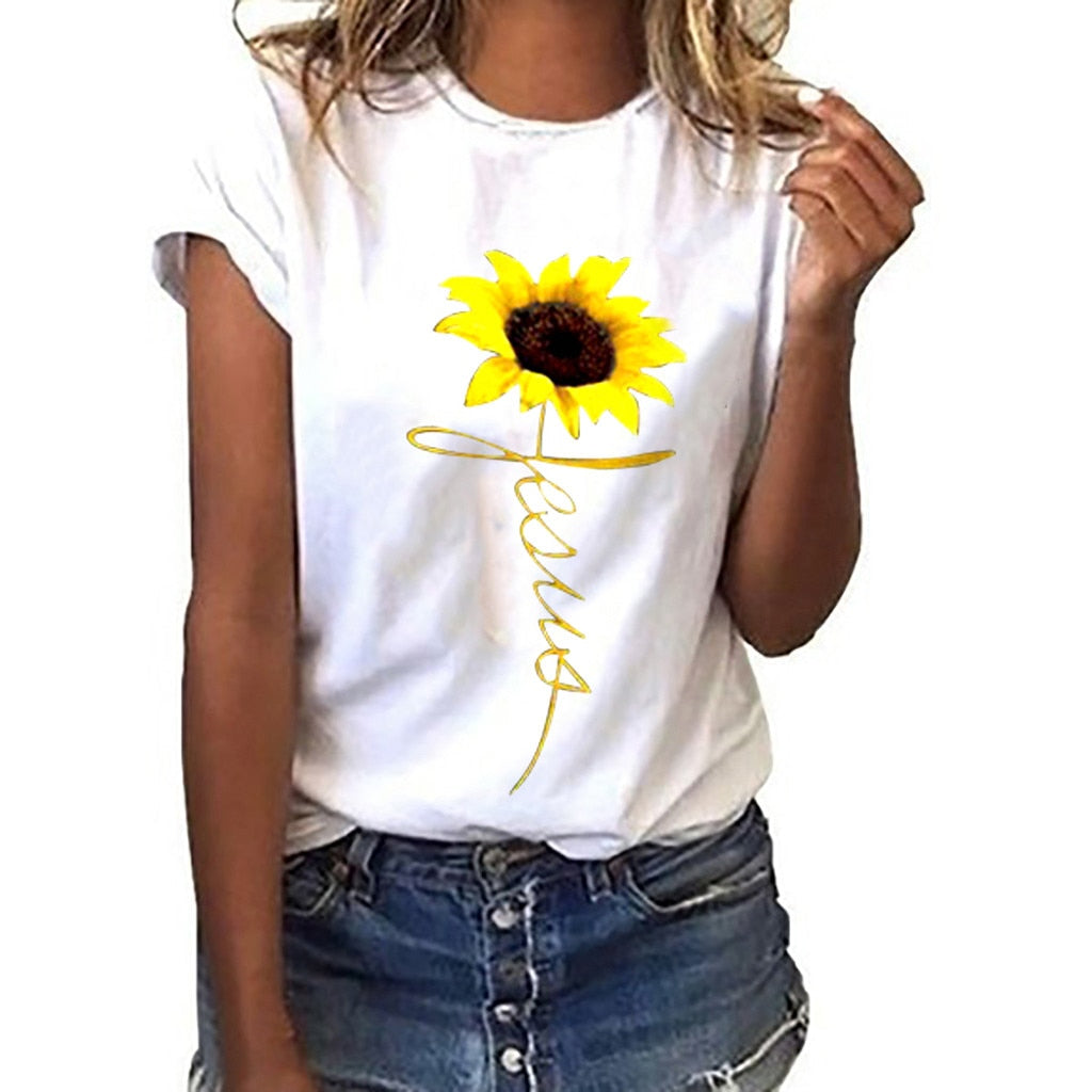 Women's T Shirt Sunflower Print Loose Casual Tee Shirt Short Sleeve O Neck Tee Tops