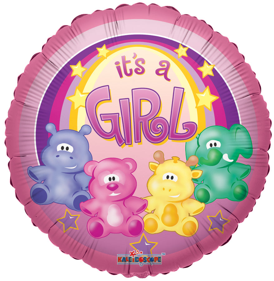 Zoo Animals Baby Girl Foil Mylar Balloon