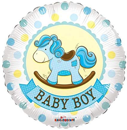 Baby Boy Foil Mylar Balloon Rocking Horse
