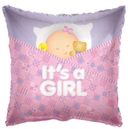 Baby Girl Sleeping Foil Mylar Balloon