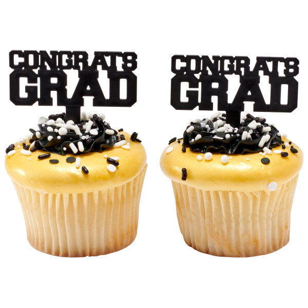 Congrats Grad Black Cupcake Graduation Pics or Cake Decoration
