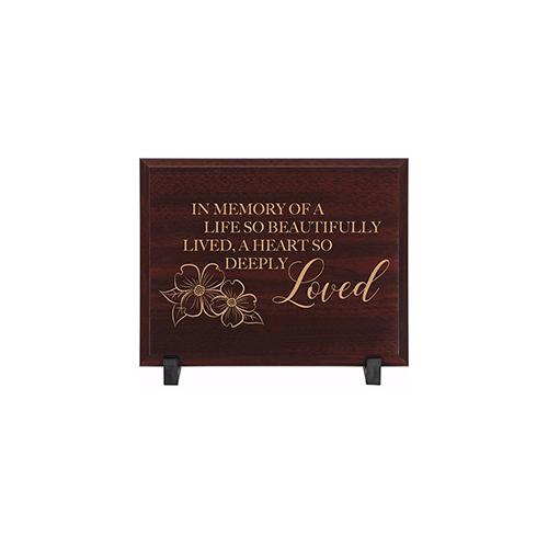 Memorial Wood Plaque-Deeply Loved w-Display Feet (7 x 9)