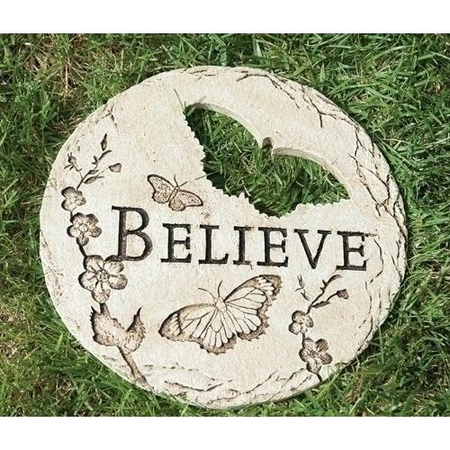 "Garden Stone-Believe w-Butterfly Cut-Out (12""D)"