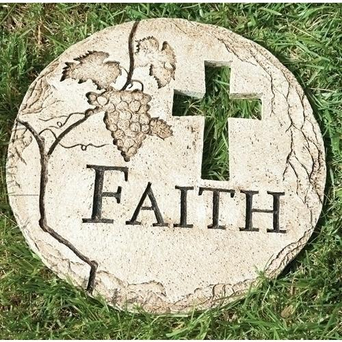 "Garden Stone-Faith w-Cross Cut-Out (12""D)"