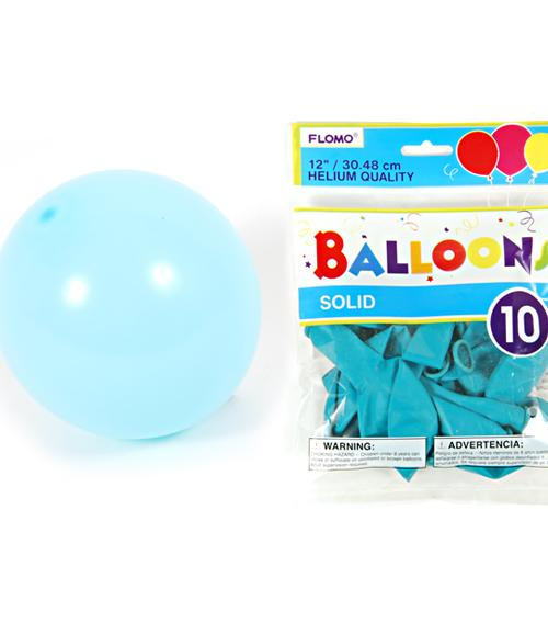 "12"" Solid Color Balloons - Turquoise - CASE OF 36"