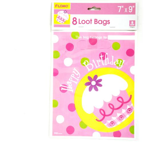 Birthday Girl Pink Cupcake Loot Bags (8 count) - CASE OF 36