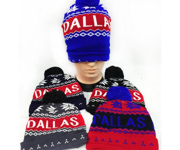 """Dallas"" Knitted Dallas Pom Beanie Hats - CASE OF 24"