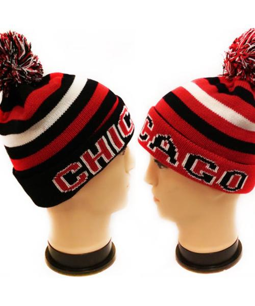 """Chicago"" Winter Knitted Beanie Hats - CASE OF 24"