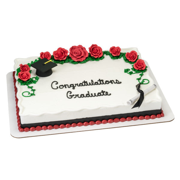 Graduation Smooth Black Cap & Diploma with Black Ribbon Cake Topper Decoration