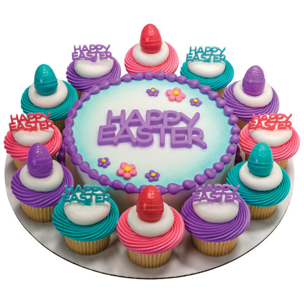 Happy Easter Cake Topper Layon in Blue Purple or Pink