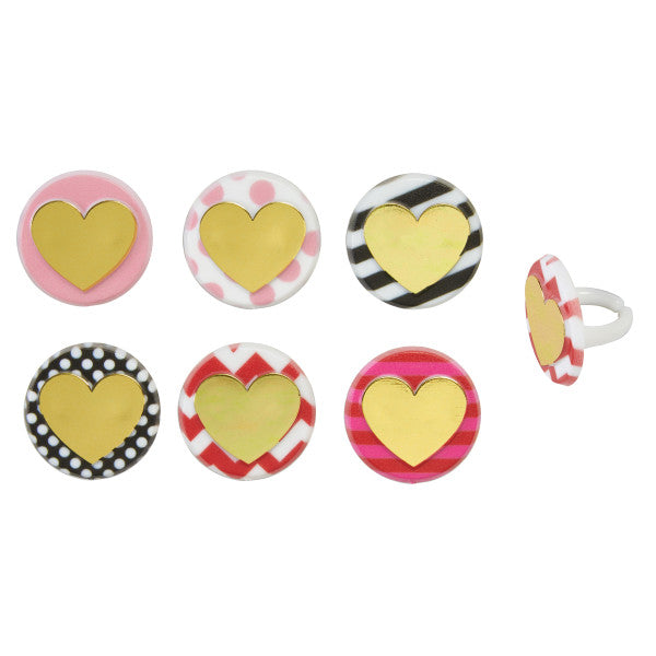 Valentines Day Heart of Gold Cupcake Rings