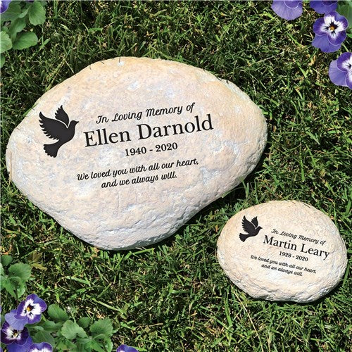 Personalized Memorial Garden Stone In Loving Memory Dove Round or Heart