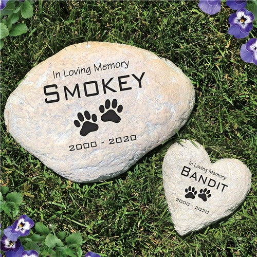 Personalized Pet Memorial Garden Stone In Loving Memory Paws