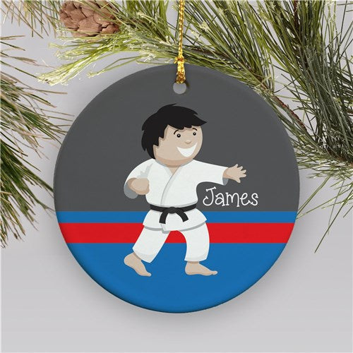 Personalized Karate Boy Christmas Ornament