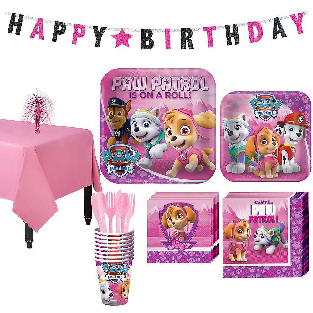 Paw Patrol Pink Partyware for 8 Guests