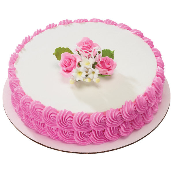 Pink Trio Rose Spray Gum Paste Cake Decoration