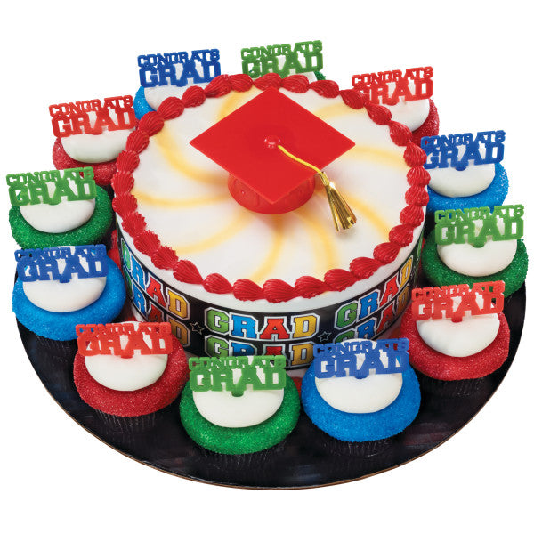 Graduation Cap Cake Topper Decoration with Tassel - Red