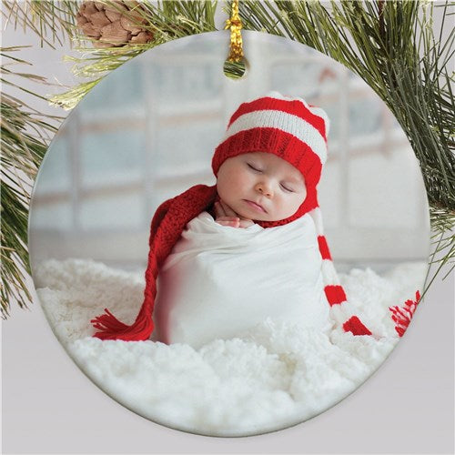 Personalized Round Photo Christmas Ornament